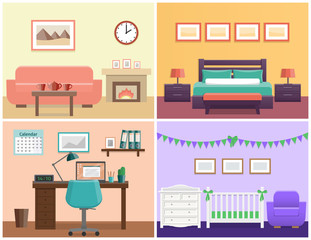 House interior – living room, bedroom, office place, baby nursery. Flat vector design with furniture including sofa, fireplace, bed, desk, laptop, crib and changing table.