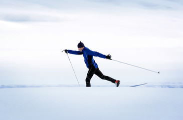 The Cross-country Skier in the mountains.