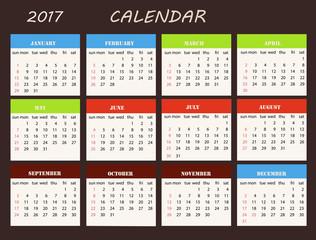 Calendar on a brown  background