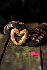 gingerbread in hand, heart