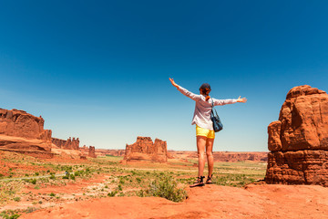 Traveler at the monument valley