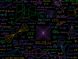 Mathematical vector seamless pattern with multicolored handwritten calculations, formulas, equations, plots and functions
