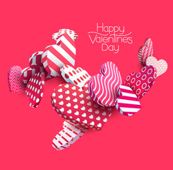3d red hearts. Abstract vector illustration