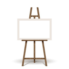 wooden easel with white blank