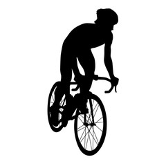 Road cycling, cyclist vector silhouette