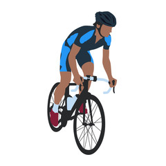 Road cyclist in blue jersey, isolated vector illustration