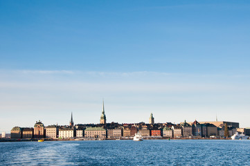 Skyline and cityscape of Stockholm, capital of Sweden.