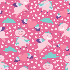 Simple repeating seamless pattern with Cupid, hearts and cloud