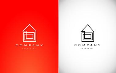 Real estate house monoline lineart logo icon design
