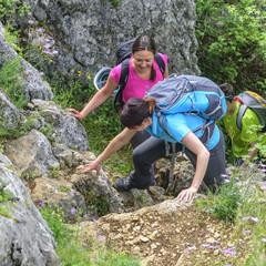 Klettereinlage beim Bergwandern