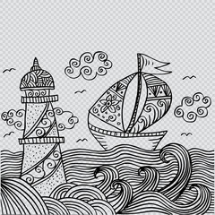 Lighthouse and sailboat. Decorative style.