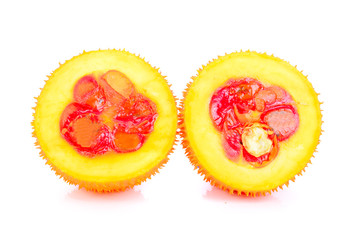 Gac fruit, Baby Jackfruit, Cochinchin Gourd on white background.