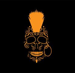 Skull vector Mohawk Punk icon, neon color