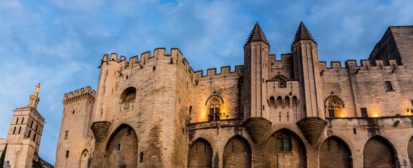 Palais des Papes d'Avignon et Cathédrale Notre-Dame-des-Doms à la nuit venue
