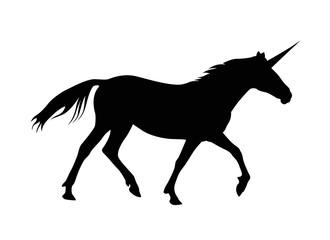 Silhouette of unicorn. Black on white
