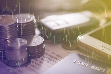 Double exposure of rows of coins, account book, mobile, credit card and car key remote. Finance and banking concept.
