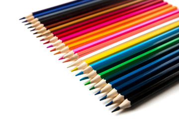 Color pencils isolated on white background close up with Clipping path.Beautiful. For drawing.