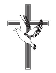Dove flying with a Symbol of Religion. Cross. Dove Of Peace. Vector illustration.