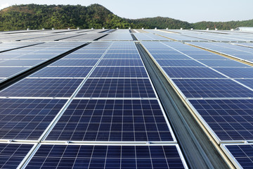 Solar PV Rooftop System Mountain Background