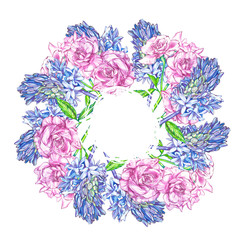 Hyacinth and Roses background in watercolor style, greeting card for holiday.