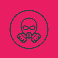 gas mask line icon in circle, vector illustration