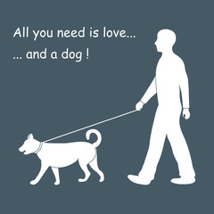 Silhouette of a man walking a dog on a leash. Design element for
