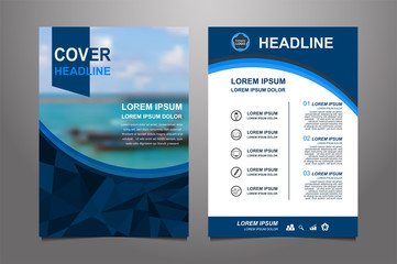 blue Vector annual report Leaflet Brochure Flyer template design, book cover layout design, Abstract  red presentation book cover templates