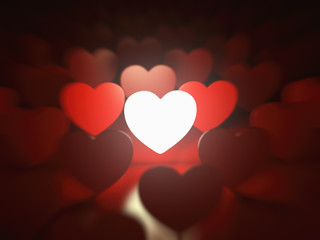 Valentine's day background. Love concept. One glowing heart in a
