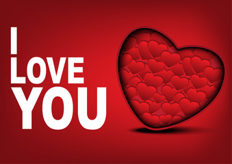 i Love you card with many hearts background