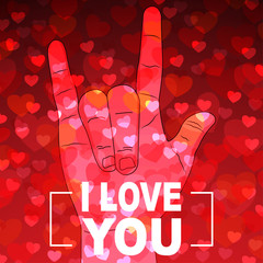 i Love you hand sign with many hearts on red background