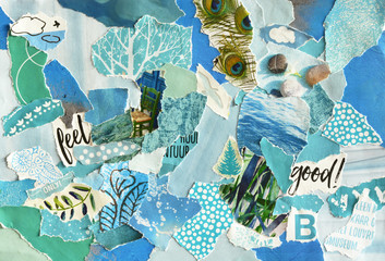 Creative Atmosphere art mood board collage sheet in color idea  blue ,green, aqua and turquoise made of teared magazines and printed matter paper with colors and textures Wall mural
