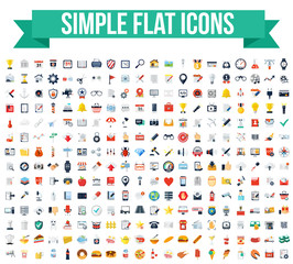 280 Simple Flat Vector Icons