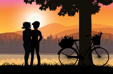 Love Sweet At sunset, Vector illustrations