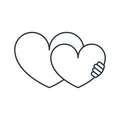 Heart hug isolated line icon on white background