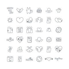 Happy hug day isolated line icons set on white background