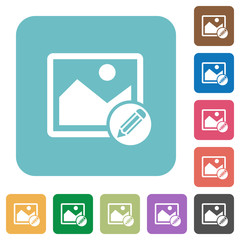 Edit image rounded square flat icons