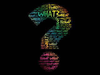 Question mark, Question words concept background