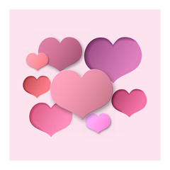 Pink Abstract Background Hearts for a Valentine Day. Can be used for Love Letter, Card, Valentines day Celebration, design, etc. Scope and Clipped Depth on Paper