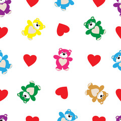 Seamless pattern from bears and hearts