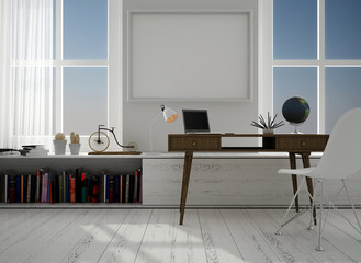 Interior with white chair, 3d illustration