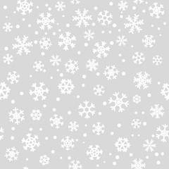Silver seamless winter snowflake pattern. Christmas vector design