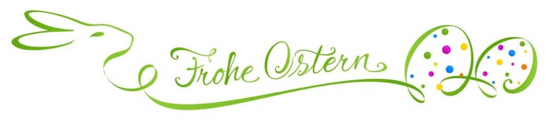 Kalligrafie Signet mit Osterhase und bunten Ostereiern - Frohe Ostern