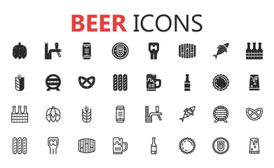 Simple modern set of beer solid icons. Vector illustration.