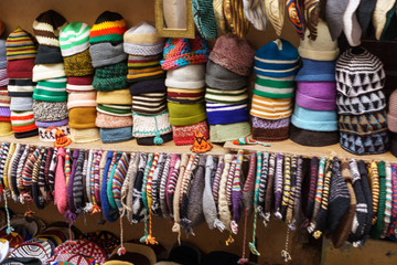 hats in traditional market in Marrakesh Morocco
