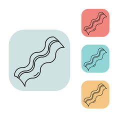 bacon icon, outline thin line isolated vector sign symbol, on white, red, blue, yellow and grey background. Food and drink elements. Can be used in logo, UI and web design