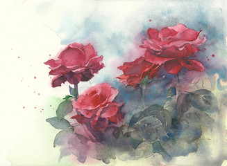 Roses watercolor painting illustration greeting card