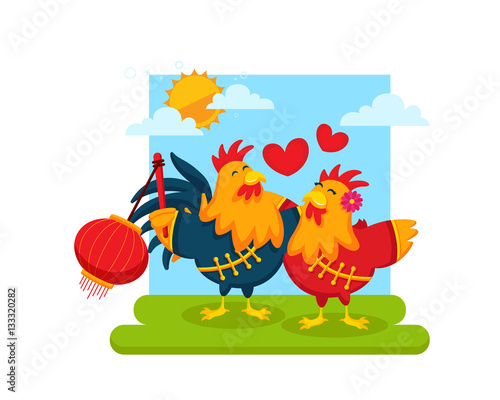 chinese new year 2017 rooster couple character illustration in various activities greetings for friends
