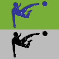 Silhouette of soccer player, vector draw