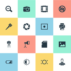 Set Of 16 Simple Photographer Icons. Can Be Found Such Elements As Film Strip, Energy, Rim And Other.