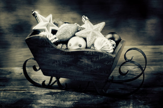 Sleigh full of Holiday ornaments